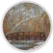 Winter Sycamores Round Beach Towel