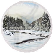 Round Beach Towel featuring the painting Winterland by Kenneth M Kirsch