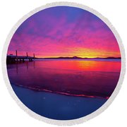 Winters Whisper Round Beach Towel