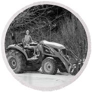 Wintry Country Skeleton On Tractor Round Beach Towel