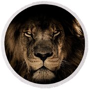 Wise Lion Round Beach Towel