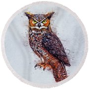 Wise Owl Round Beach Towel