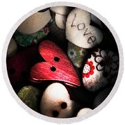 With Sentiment In The Sewing Box Round Beach Towel