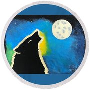 Wolf Moon Round Beach Towel