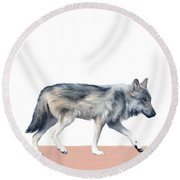 Wolf On Blush Round Beach Towel