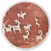 Wolfe Ranch Petroglyphs Round Beach Towel