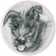 Wolfhound Puppy Sketch Round Beach Towel