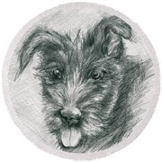 Wolfhound Puppy Sketch Round Beach Towel