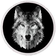 Wolf's Face Round Beach Towel