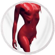 Woman Body Red Paint Round Beach Towel
