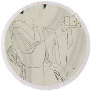 Woman Holding A Firefly Cage, Taisho Era, July 1920 Round Beach Towel