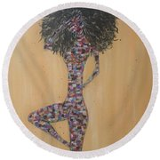 Woman Of Color IIi Round Beach Towel