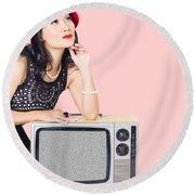 Woman On Retro Tv. Fifties Copyspace Broadcast Round Beach Towel