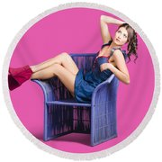 Woman Sitting On A Chair Round Beach Towel