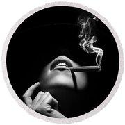 Woman Smoking A Cigar Round Beach Towel