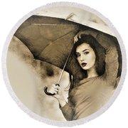 Woman With A Umbrella Round Beach Towel
