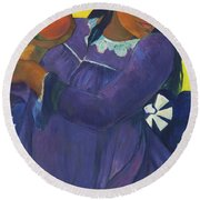 Woman With Mango - Digital Remastered Edition Round Beach Towel