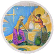 Women At The Well - Digital Remastered Edition Round Beach Towel