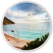 Wonderful Beach Without People At Morning Round Beach Towel