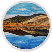 Wonderland Lake Round Beach Towel
