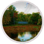Wood Bridge In The Fall Round Beach Towel
