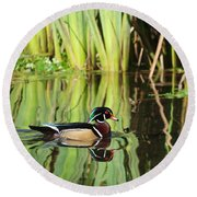 Wood Duck Reflection 1 Round Beach Towel