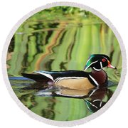 Wood Duck Reflection 2 Round Beach Towel