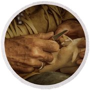 Round Beach Towel featuring the photograph Woodcarver by Guy Whiteley