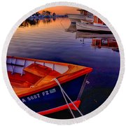 Wooden Boats Round Beach Towel