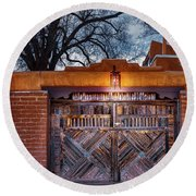 Wooden Gate In The Eve Round Beach Towel