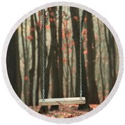 Wooden Swing In Autumn Forest Round Beach Towel
