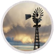 Round Beach Towel featuring the photograph Wooden Windmill 01 by Rob Graham