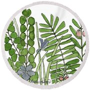 Woodland Ferns Violets Nature Illustration Round Beach Towel