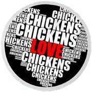 Word Cloud White Love Chickens Round Beach Towel