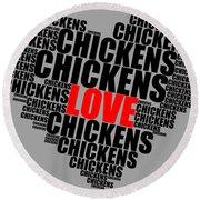 Wordcloud Love Chickens Black Round Beach Towel