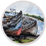 Wrecked River Boats Round Beach Towel