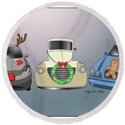 Xmas Cars Round Beach Towel