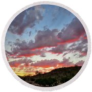 Round Beach Towel featuring the photograph Y Cactus Sunset  11 by Judy Kennedy