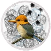 Y Is For Yellow Billed Kingfisher Round Beach Towel