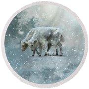 Yaks Calves In A Snowstorm Round Beach Towel