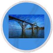 Yaquina Bay Bridge From South Beach Round Beach Towel