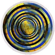 Yellow And Blue Metal Circles Round Beach Towel