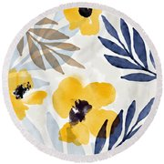 Yellow And Navy 3- Floral Art By Linda Woods Round Beach Towel