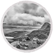 Yellow Autumn Panoramic Bw #i1 Round Beach Towel