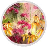 Yellow Ballerinas Round Beach Towel