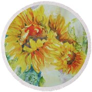 Yellow Beauty Round Beach Towel