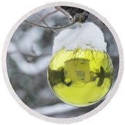 Round Beach Towel featuring the photograph Yellow Christmas Ball Outside, Covered By Snow And House Reflect by Cristina Stefan