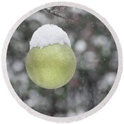 Round Beach Towel featuring the photograph Yellow Christmas Ball Outside, Covered By Snow. Outside Snowy Wi by Cristina Stefan