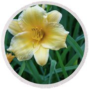 Yellow Day Lily Round Beach Towel
