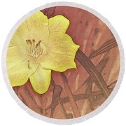 Yellow Day Lily Stencil On Sandstone Round Beach Towel